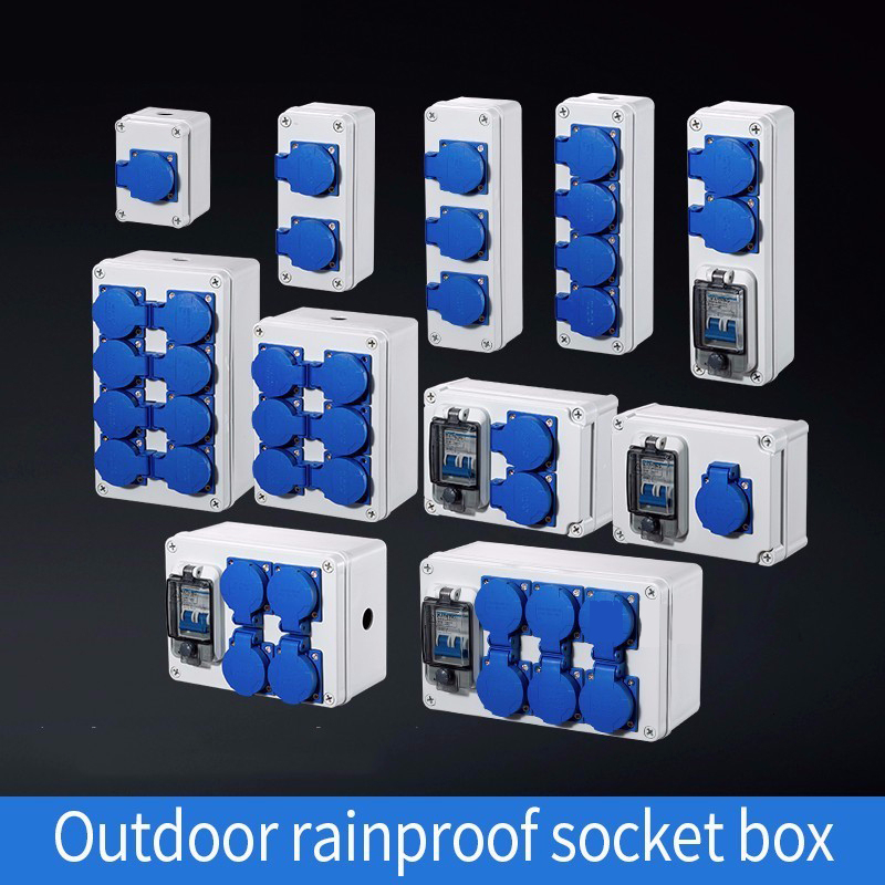 Outdoor Rainwater Socket Three Holes 10A Home Wall Mounted Multi-function Outdoor Socket Box Electric Car Charging