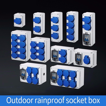 Tomada de água da chuva ao ar livre três furos 10a casa montado na parede multi função caixa de soquete ao ar livre carro elétrico de carregamento|Conectores| |  -