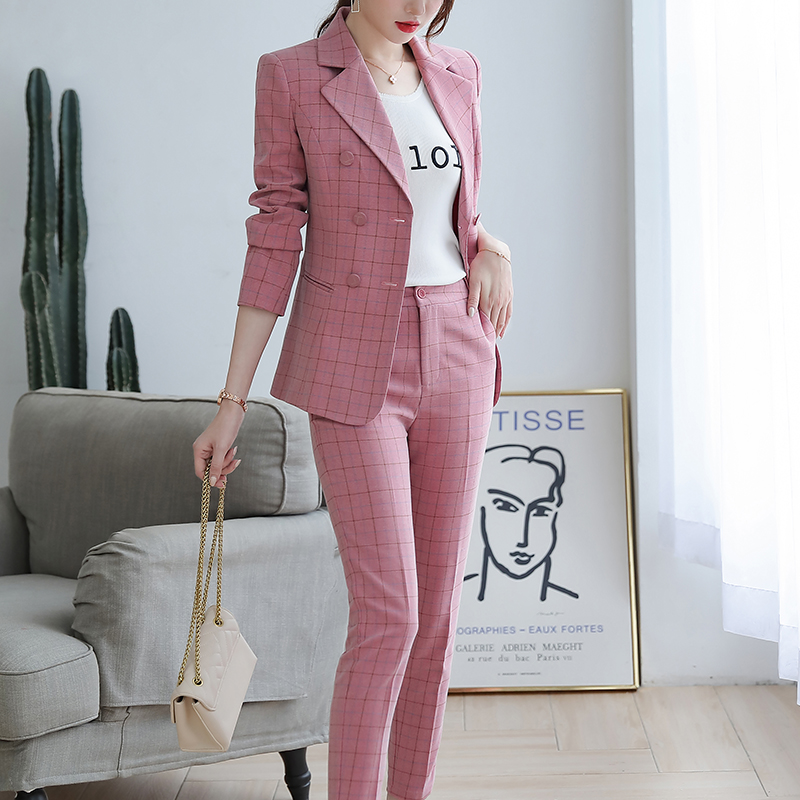SUSIELADY Women's Blazer Pantsuits Plaid Office Lady Suits Double Breasted with Waistband Work Blazer Suits