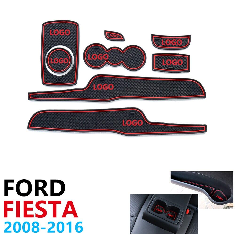 Anti-Slip Gummi Tasse Kissen Tür Nut Matte für Ford Fiesta MK6 MK7 ST 2008 ~ 2016 2009 2010 2013 2015 zubehör matte für telefon