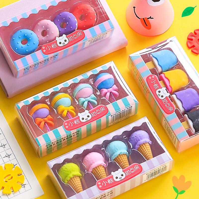 4 pcs/set Novelty Cartoon Dessert Series Erasers Cute Mini Lollipop Icecream Rubber Pencil Eraser Kids Student School Stationery