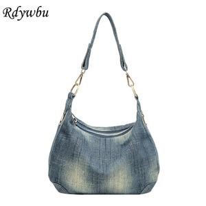 Image 1 - Rdywbu Washed Denim Women Shoulder Bag Casual Vintage Jeans High Quality Big Crossbody Bag Large Tote Handbag Mochila Bolsa B225