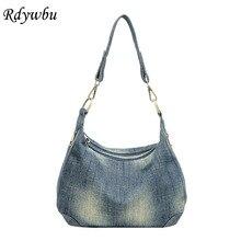 Rdywbu lavados denim bolsa de ombro das mulheres casuais do vintage jeans alta qualidade grande crossbody saco grande bolsa bolsa bolsa b225