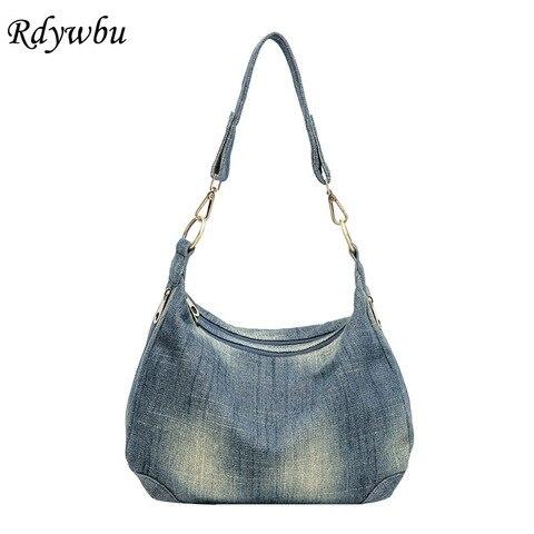 Bolsa de Ombro para Mulheres Casuais do Vintage Rdywbu Lavados Denim Jeans Alta Qualidade Grande Crossbody Bolsa B225