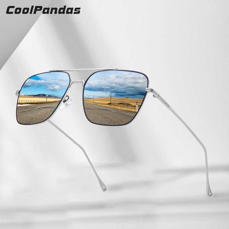 2020 Brand Men Sunglasses Polarized Lens Coating Mirror Glasses Vintage Square Metal Frame Women Sun Glasses Oculos De Sol UV400