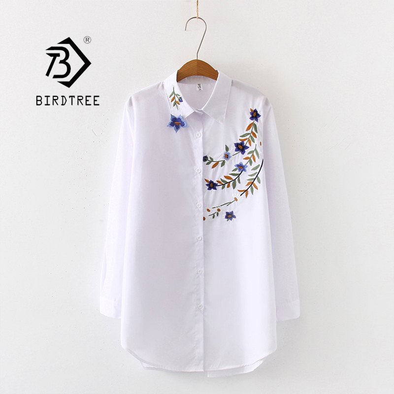 New Arrival Women Button Up Turn Down Collar Long Sleeve Floral Embroidery White Shirt Cotton Casual Blouse Oversize Top T98403F