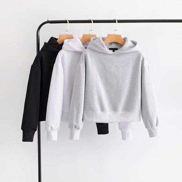 GOPLUS 2021 New Brand Hoodie Streetwear Hip Hop Black White Gray Hooded Hoodies Drop-Shoulder Short Hoodies and Sweatshirts 5