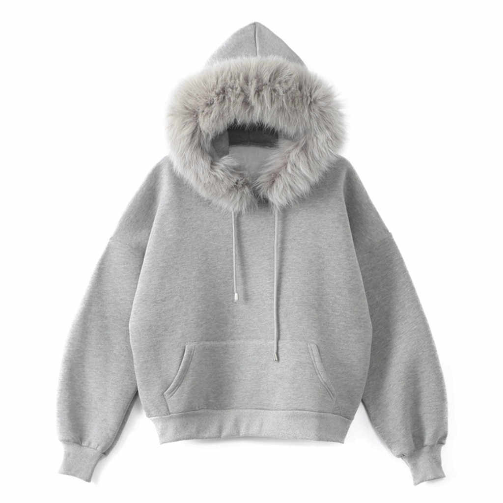 New Fashion winter Casual women Hoodies Fur Collar Sweatshirts long sleeve  Light Gray Pullovers loose Hooded Female HX0729