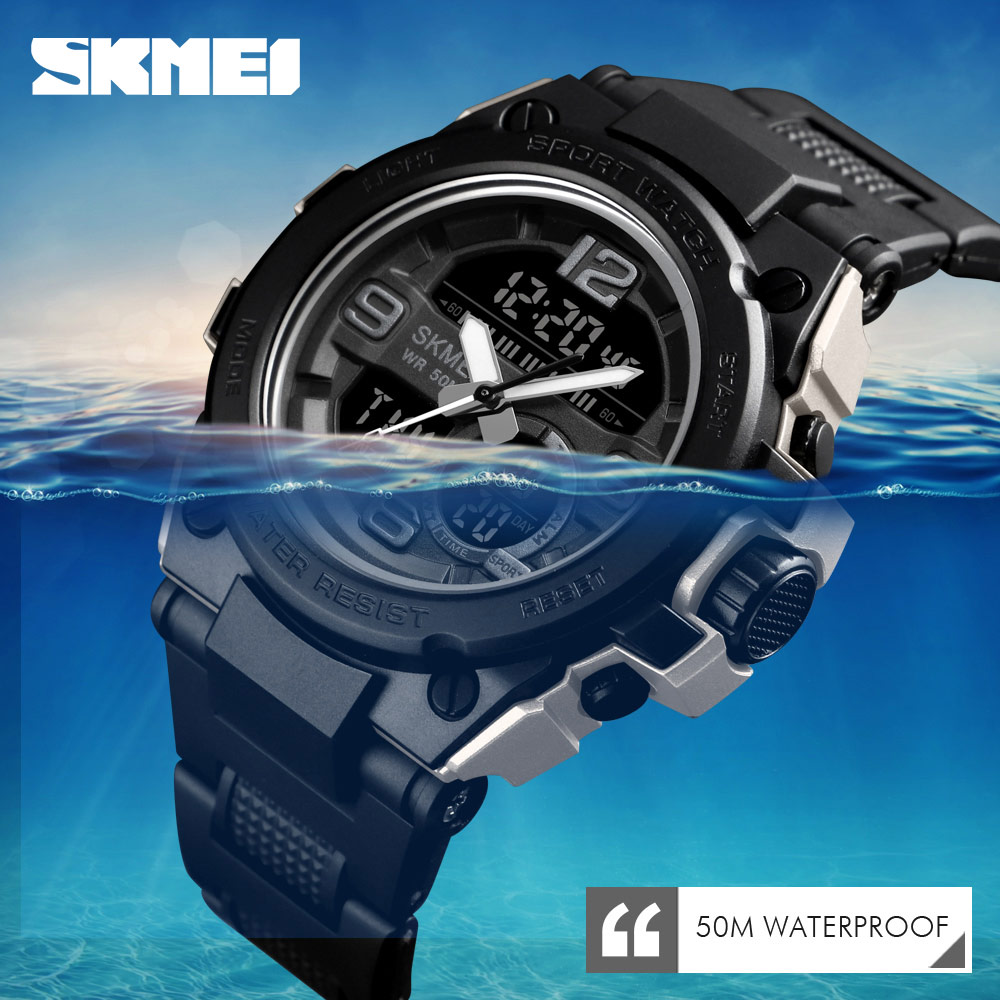 SKMEI Diving Watch Men Sport 5Bar Waterproof Men Wristwatch Dual Display Digital PU Strap Quartz Watches Dual Display Clock Hour