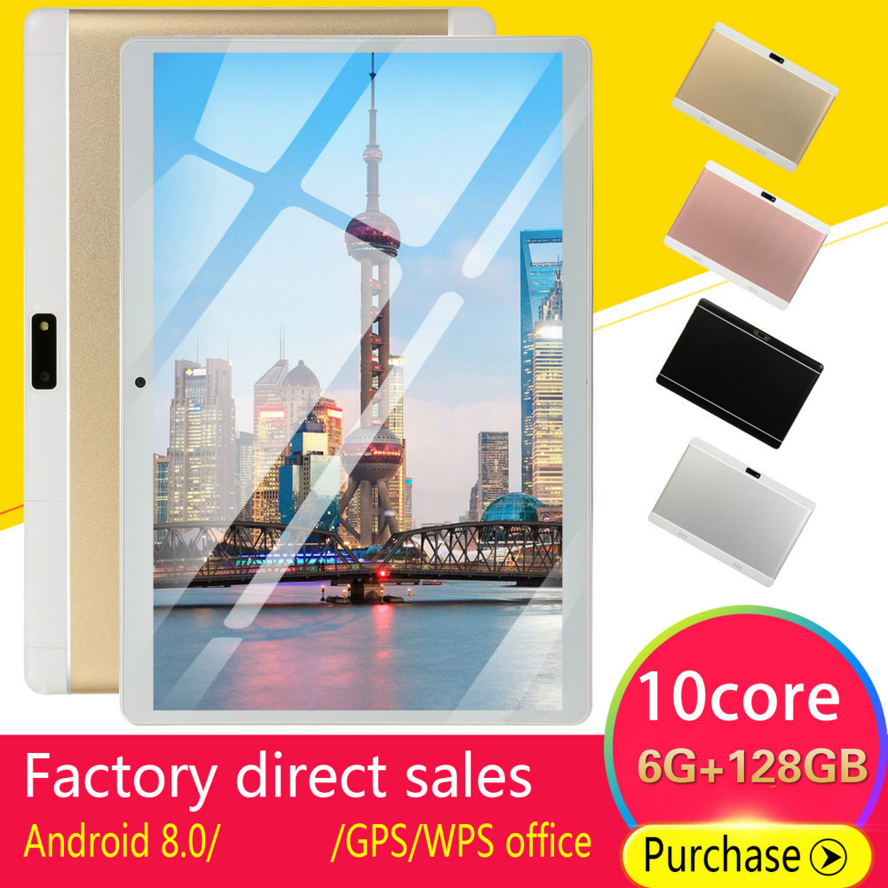 2020 New Gift Tablet  10 Inch Ten Core 6G+128GB Android8.0 Dual SIM Dual Camera Rear 5.0M 4G Call Phone Tablet For Kids Tablet