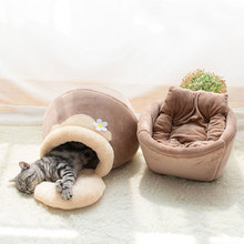 House Sleeping-Bag Cat Bed Nest-Products Cat-Mat Puppy Dogs Plush Round Winter Warm Long