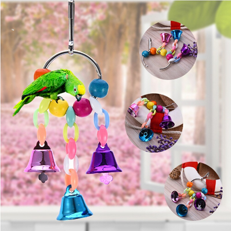 Colorful Parrot Toys Suspension Hanging Bridge Chain Pet Bird Parrot Chew Toys Bird Cage Toys For Parrots Birds Home Decoration