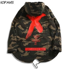 ICPANS Men Camouflage Jacket X Coat Hooded Jackets Hip Hop Streetwear Loose Camo Sunday