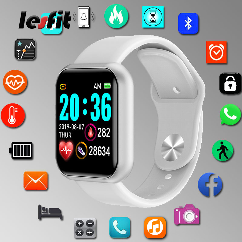 Lesfit Y68 Waterproof White Digital Smart Watch Stylish Kids Wristbands Electronic Clock Monitor HR/BP Rate Pedometer Smartwatch