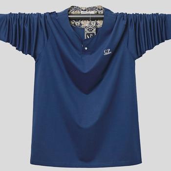 Plus size 6XL 5XL T-Shirt Men Cotton T Shirt Full Sleeve tshirt Men Solid Color T-shirts tops&tees Mandarin Collar Long Shirt casual drawstring mandarin collar t shirt