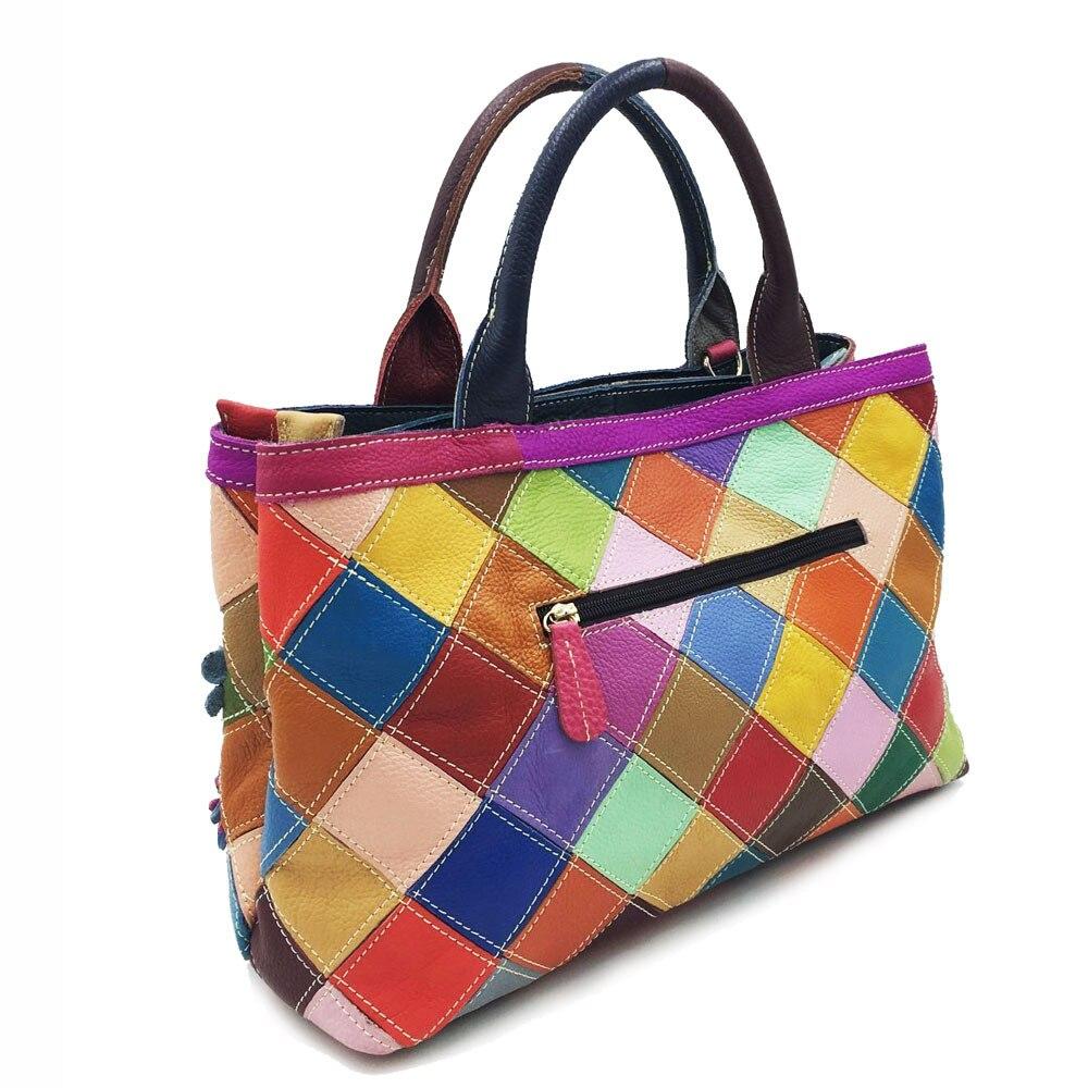 Big Multi-Color Floral Cow Leather Handbag Lady Genuine Leather Rhinestone Rivet Flower Diamond Patchwork Messenger Tote Bag