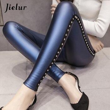 Jielur PU Leather leggings Women New Winter Fleece Matte Chic Rivets Push Up Pencil Pants 4 Colors Slim Lady Leggings S-XXXL