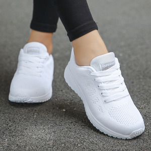 Tenis Feminino Fashion Lace-Up White Sport Shoes For Women Sneakers Light Round Cross Straps Flat Tennis Woman Shoes Outdoor Gym(China)