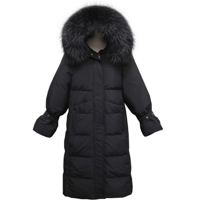 Women's Winter Long Hooded White Duck   Down     Coat   Real Marten Fur Collar