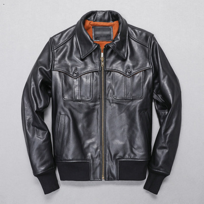 TOP 2020 New Men Genuine Leather Jacket Spring/autumn Fashion Pockets Cowhiede Casual Jackets Russia Free Shipping