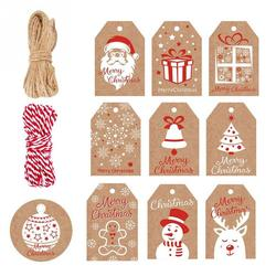 DIY Arts Christmas Tag Hang Labels Brown Christmas Kraft Gift Tags Arts Crafts Package Name Card Gift Package Festival Holiday