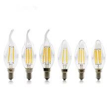 Супер яркий E14 светодиод лампа свет 4 Вт 8 Вт 12 Вт 220 В нить свеча лампы C35 C35L Эдисон светодиод лампа ампула для люстры освещение