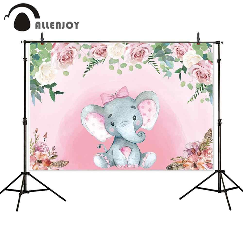 Allenjoy elephant baby shower festa di compleanno sfondo photocall decorazioni floreale della ragazza del ragazzo fotografia personalizzare sfondo