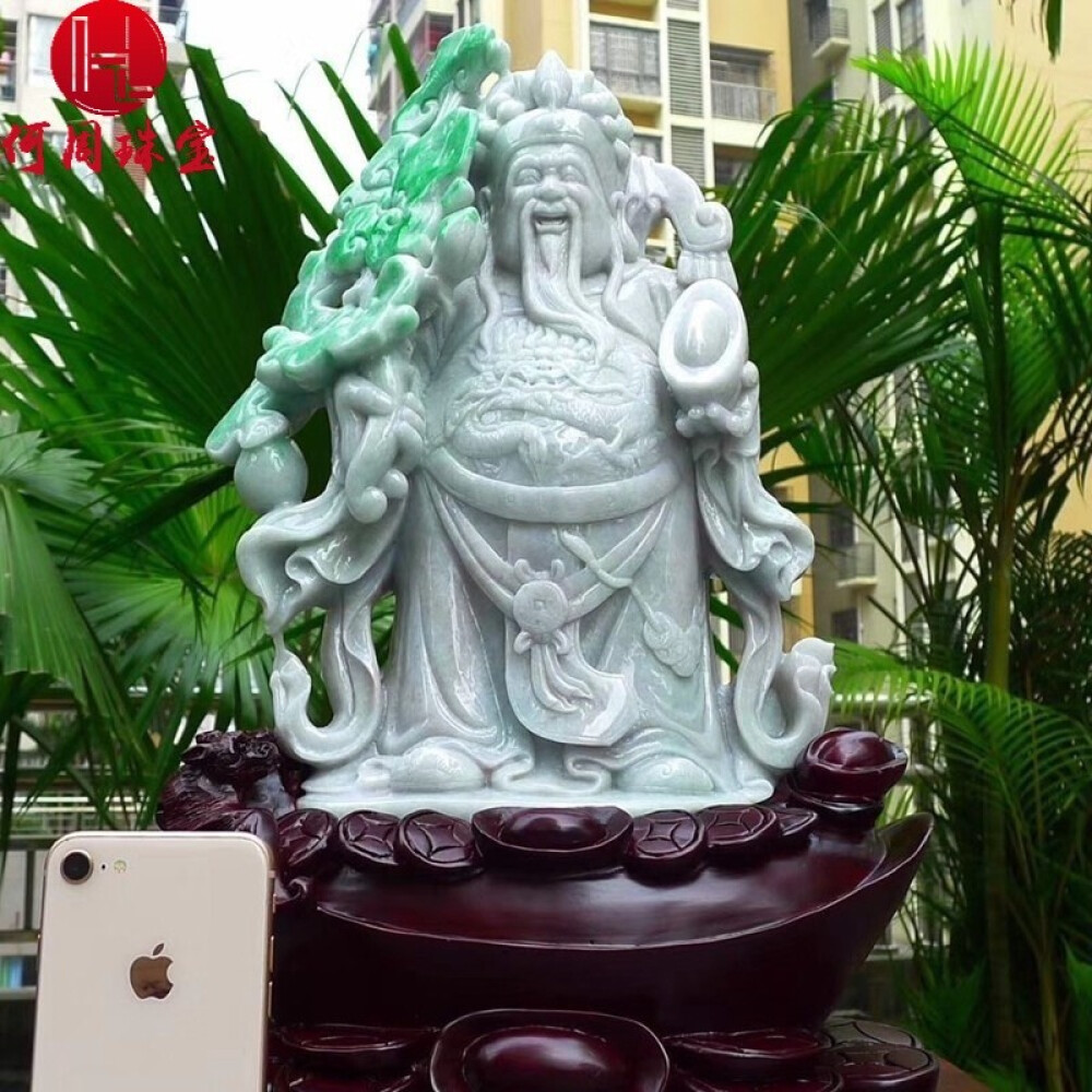 Hezhou jewelry!Myanmar natural jade!The god of wealth hand-carved decoration!Living room desk accessories!17jins 1
