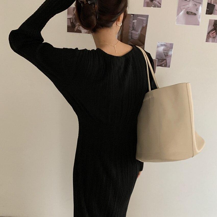 H349d221c655943198f8e0152fcfb2e52R - Autumn O-Neck Long Sleeves Pleated Black Midi Dress