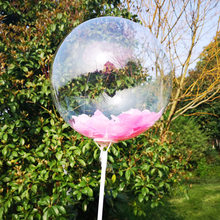 Quarter is 13 18 inches 20 inch hd transparent non-trace bobo ball feathers birthday balloon wedding decoration(China)