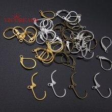 30 pçs/1 lote frete grátis semicírculo brinco ganchos alavanca de volta splitring brinco ouro silvers bronze chapeado para jóias