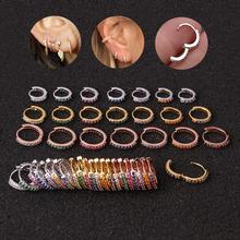 1 sztuk Rainbow CZ Hoop kolczyki na chrząstkę dla kobiet moda proste ze stali nierdzewnej z cyrkonią okrągłe ucho klamra przekłuwanie uszu biżuteria tanie tanio LURUIXU CN (pochodzenie) STAINLESS STEEL Unisex 6mm TRENDY ROUND Cyrkonia LN902