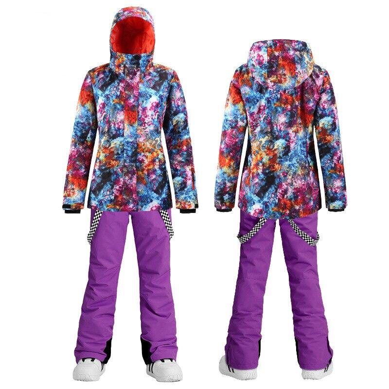 Bran Cosmic Sky Style Women's Snowboard Clothes Waterproof Windproof Costumes Winter Outdoor Suit Ski Jacket + Snow Pants Girl's