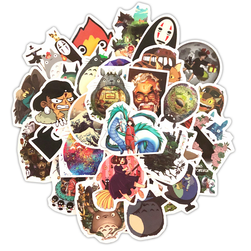 50pcs Miyazaki Hayao Anime Computer Sticker Skateboard Laptop Refrigerator Decoration Mixed Decals For Notebook Graffiti Sticker