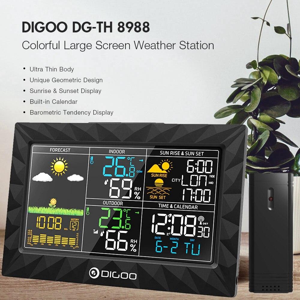 Large Display LCD Início Estação Meteorológica sem fio Ao Ar Livre Indoor Digital Termômetro Higrômetro Medidor De Temperatura E Umidade Do Sensor