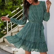 Dot Print Ruffled Long Sleeve Women's Mini Dress Chiffon Sashes Bohemian Woman Short Dresses 2021 Summer Elegant Ladies Clothes