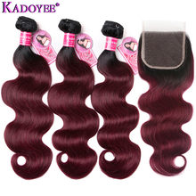 1B/99J Ombre Body Wave Human Hair Bundles With Closure Brazilian Hair Weave Bundles With Closure Remy Hair Extensions For Women(China)
