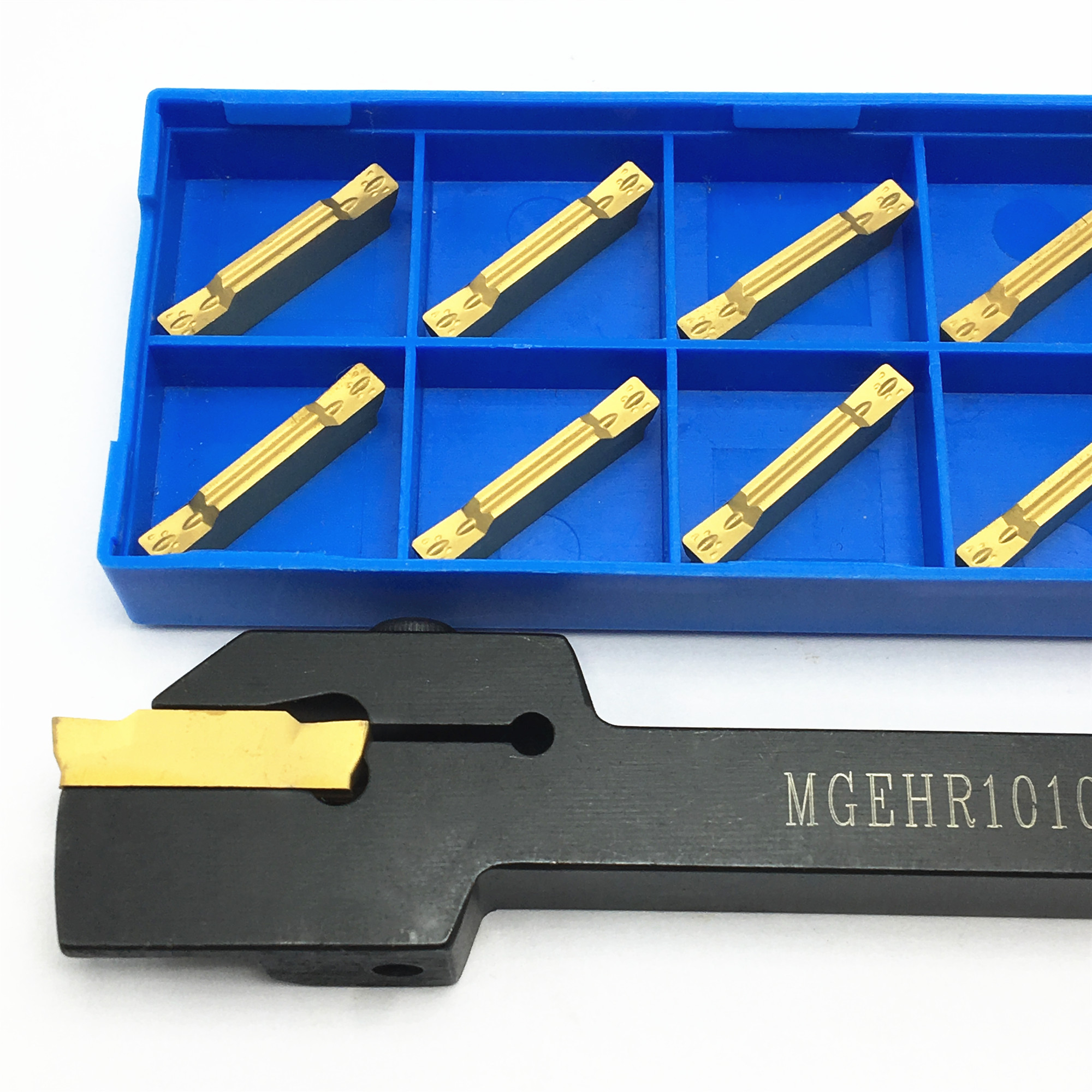 1PCS MGEHR1010 MGEHL1010 External Grooving Tool Holder + 10PCS MGMN150 MGMN200 MGMN300 Carbide Insert Turning Separation Tool