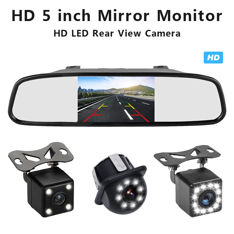 800*480 Resolution 5 Inch Car HD LCD Rearview Mirror Monitor Auto Parking LED Night Vision Reversing Rear View Camera
