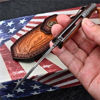 VG10 Damascus Folding Knife Tactical Military With Holster Outdoor Camping Survival Hunting Self Defense Pocket Jackknife Navaja 6