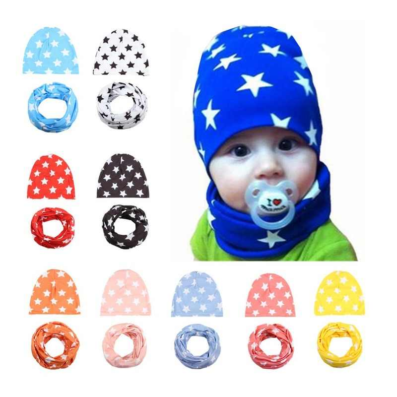 1 Set Autumn Winter Crochet Baby Hat Girl Boy Beanie Cap Children Hats Toddler Kids Hat Scarf Collars,gorros Infantiles Invierno