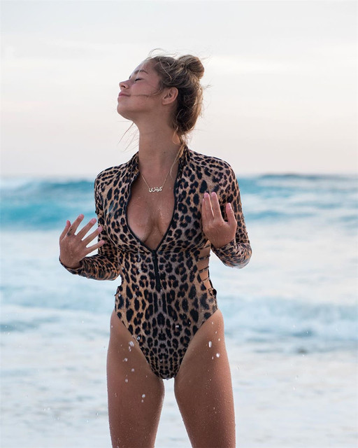 Long Sleeved, Rash Guard, Snake Skin, Leopard Print, Zippered One Piece Swimsuit 17