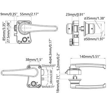 Cerradura de puerta de inodoro RV, cerrojo de puerta de baño, pestillo de barco y caravana, perilla de manija, Cerraduras para muebles 2