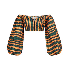 Women African Printed Off Shoulder Long Lantern Sleeve Crop Top Sexy Blouse Dashiki Ankara Clubwear Traditional Casual Outfits