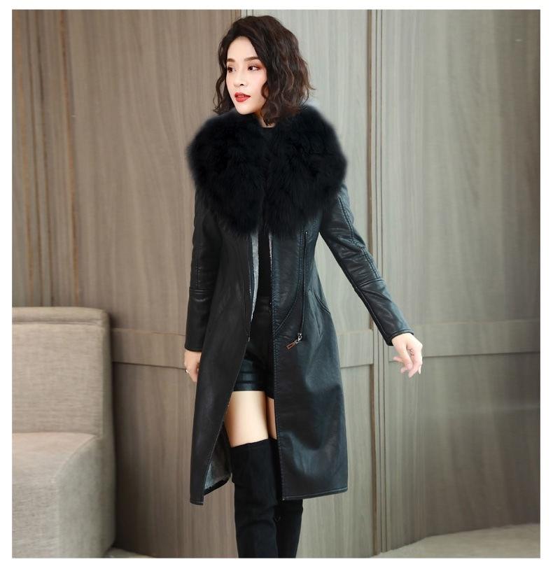 H349e0dd4b1f44bf7aa3caa19a35adca0r Vangull Women's Leather Jacket for Winter 2021 New Plus Velvet Warm Slim Big Fur Collar Long Leather Coat Female Outerwear M-4XL