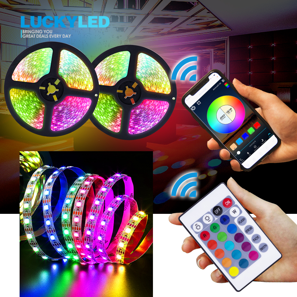 LUCKYLED 5V RGB Led Strip USB 60Leds/M 2835 SMD Flexible Led Tape Waterproof Led Strip Light With Remote 24Key 3Key Wifi Control