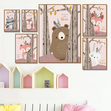 Cartoon Bear Deer Rabbit Fox Wall Art Canvas Painting Nordic Posters And Prints Cute  Animals Pictures For Kids Room Decor