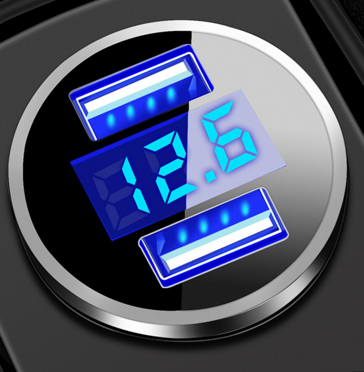 Автомобильные аксессуары для автомобильного зарядного устройства 2 Порты и разъёмы ЖК-дисплей Дисплей 12-24V прикуриватель Зажигалка Dual USB Пр...