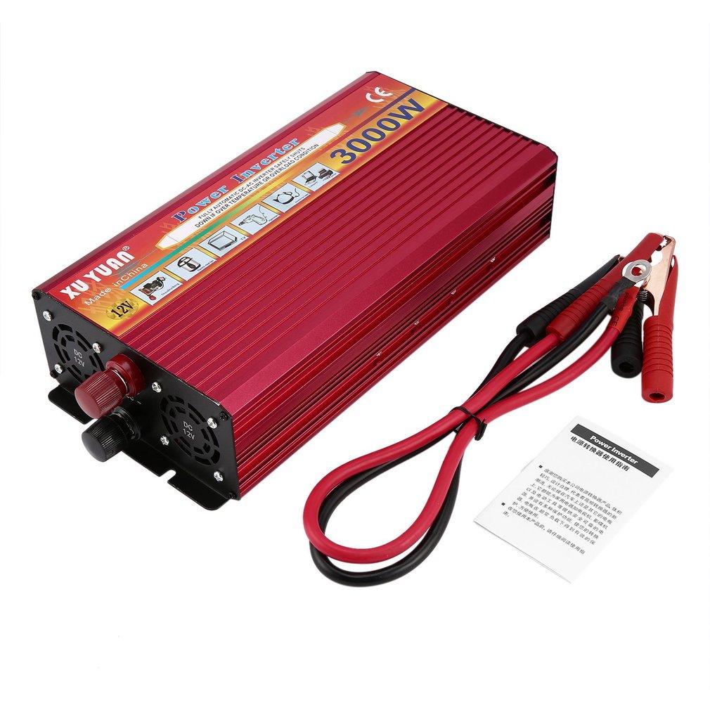 Onduleur professionnel 3000W DC 12V à AC 220V avec ventilateur de lumière indicateur LED convertisseur universel de voiture de prise de refroidissement