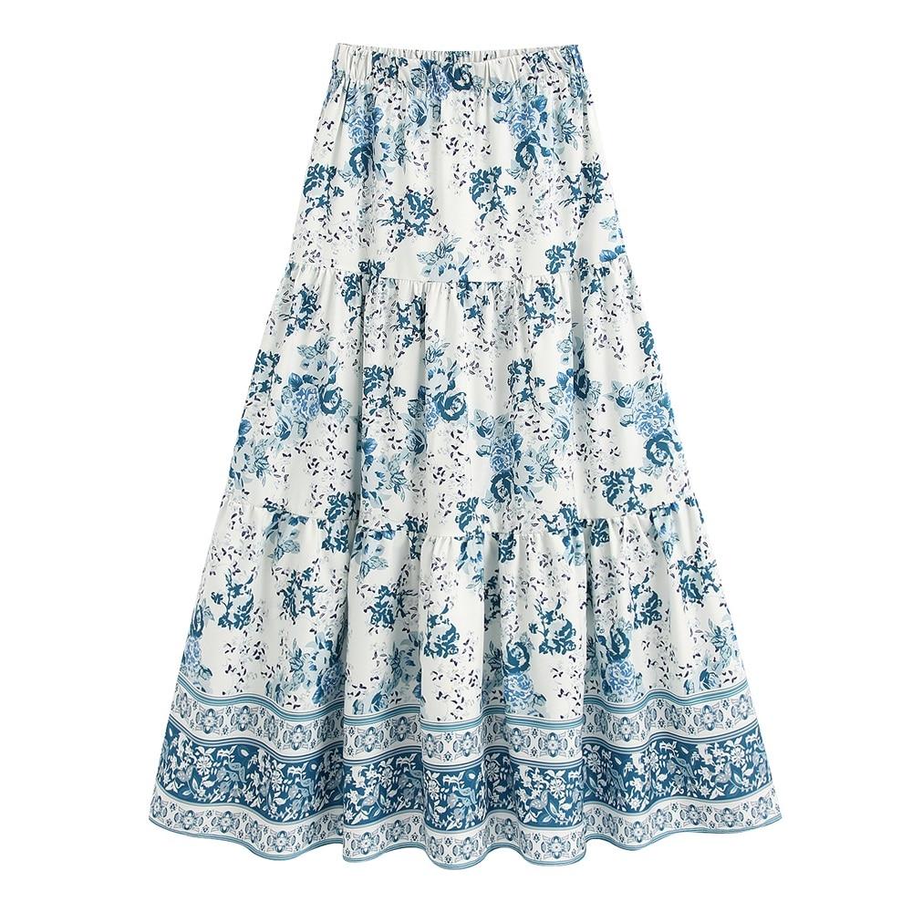 2020 Spring Women's New Retro High Waist Elastic Waist Wild Ethnic Print Loose Long Midi Skirt 05107048044